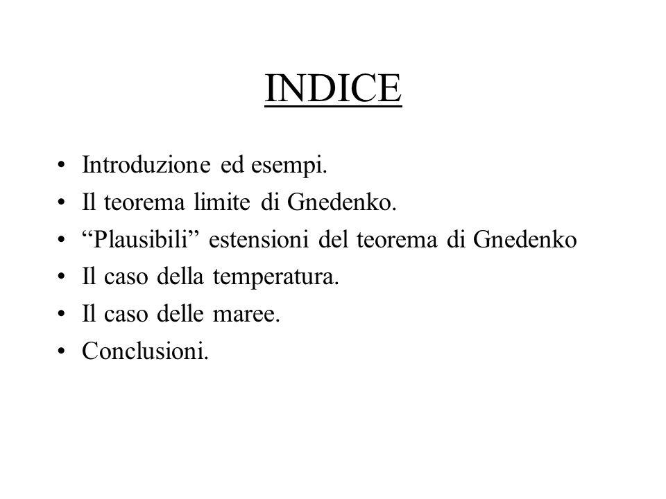 INDICE Introduzione ed esempi. Il teorema limite di Gnedenko.