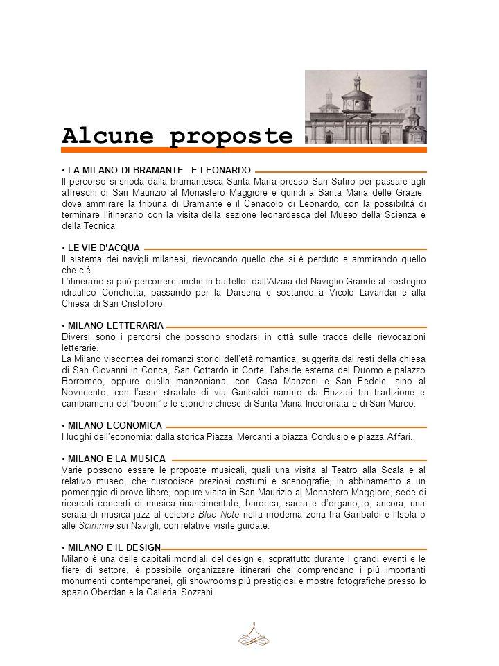 Alcune proposte LA MILANO DI BRAMANTE E LEONARDO