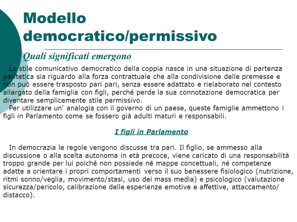 Modello democratico/permissivo