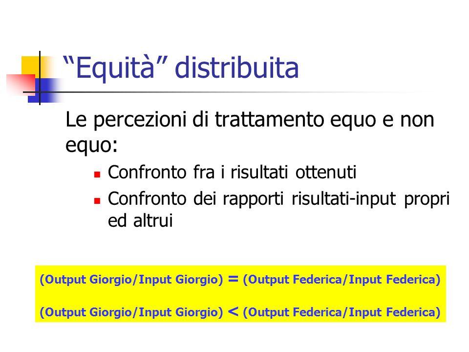 Equità distribuita Le percezioni di trattamento equo e non equo: