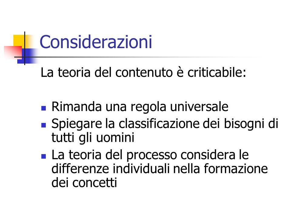 Considerazioni La teoria del contenuto è criticabile: