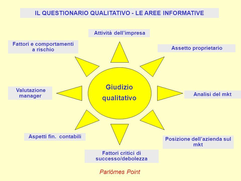 Giudizio qualitativo IL QUESTIONARIO QUALITATIVO - LE AREE INFORMATIVE