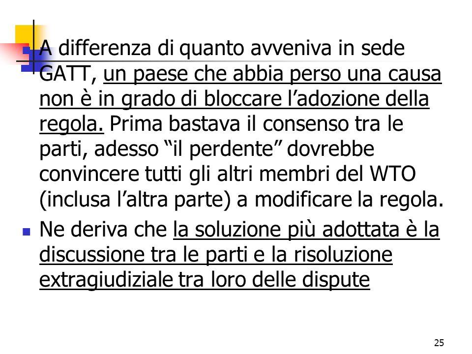 A differenza di quanto avveniva in sede GATT, un paese che abbia perso una causa non è in grado di bloccare l'adozione della regola. Prima bastava il consenso tra le parti, adesso il perdente dovrebbe convincere tutti gli altri membri del WTO (inclusa l'altra parte) a modificare la regola.