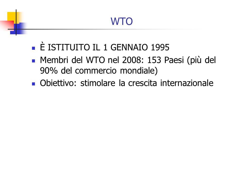 WTO È ISTITUITO IL 1 GENNAIO 1995