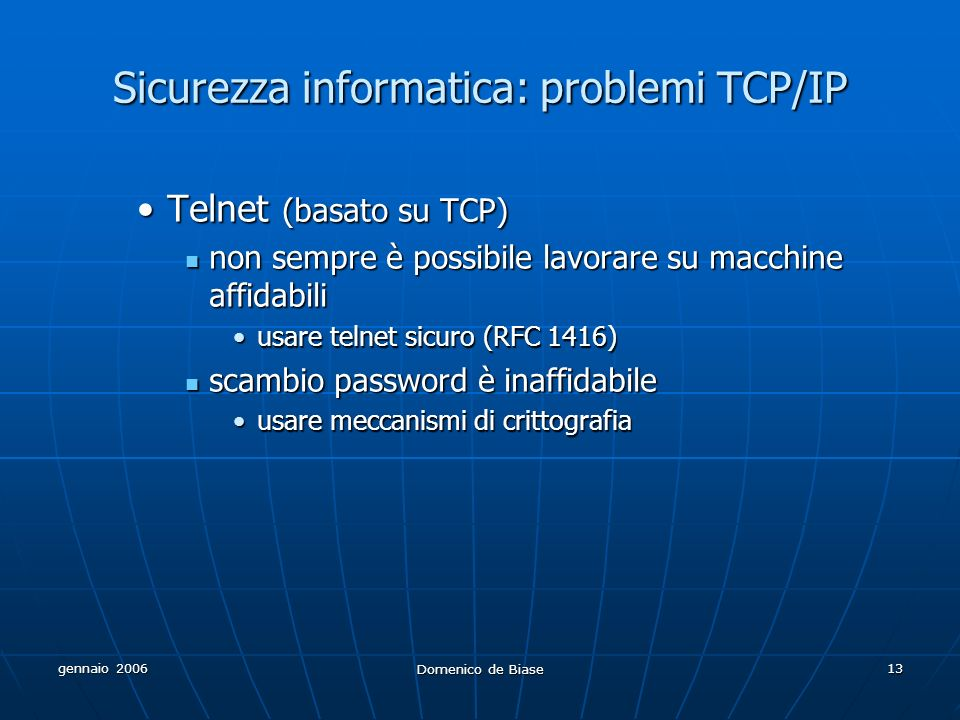 Sicurezza informatica: problemi TCP/IP