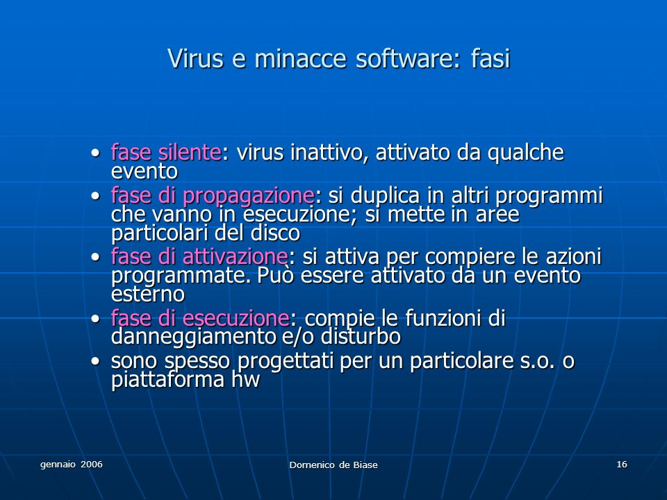 Virus e minacce software: fasi