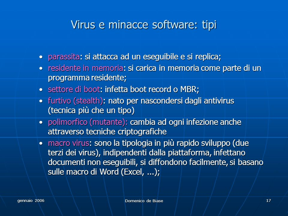 Virus e minacce software: tipi