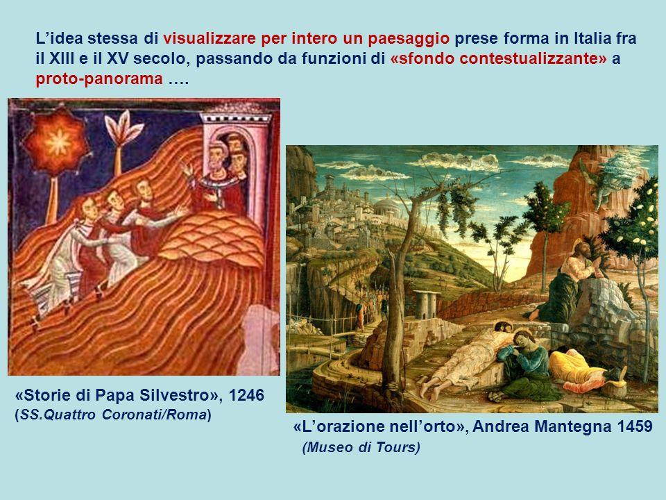 L'idea stessa di visualizzare per intero un paesaggio prese forma in Italia fra il XIII e il XV secolo, passando da funzioni di «sfondo contestualizzante» a proto-panorama ….
