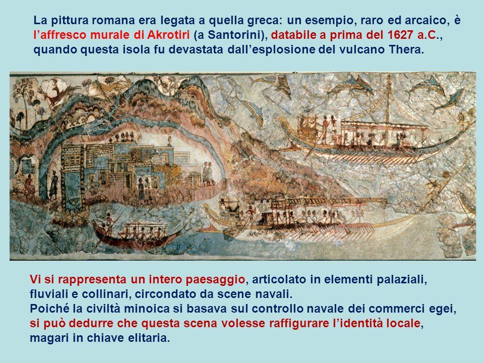 La pittura romana era legata a quella greca: un esempio, raro ed arcaico, è l'affresco murale di Akrotiri (a Santorini), databile a prima del 1627 a.C., quando questa isola fu devastata dall'esplosione del vulcano Thera.