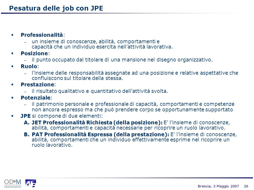 Pesatura delle job con JPE
