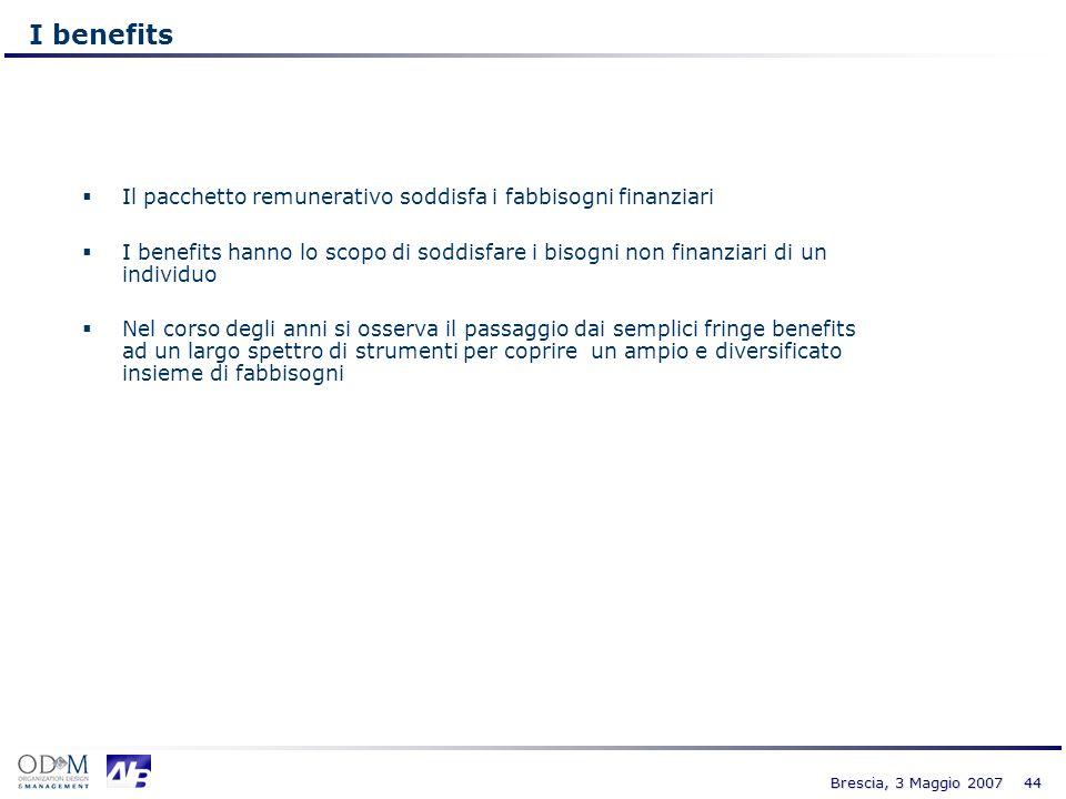 I benefits Il pacchetto remunerativo soddisfa i fabbisogni finanziari