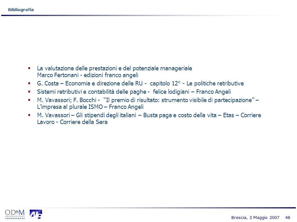 Bibliografia La valutazione delle prestazioni e del potenziale manageriale Marco Fertonani - edizioni franco angeli.