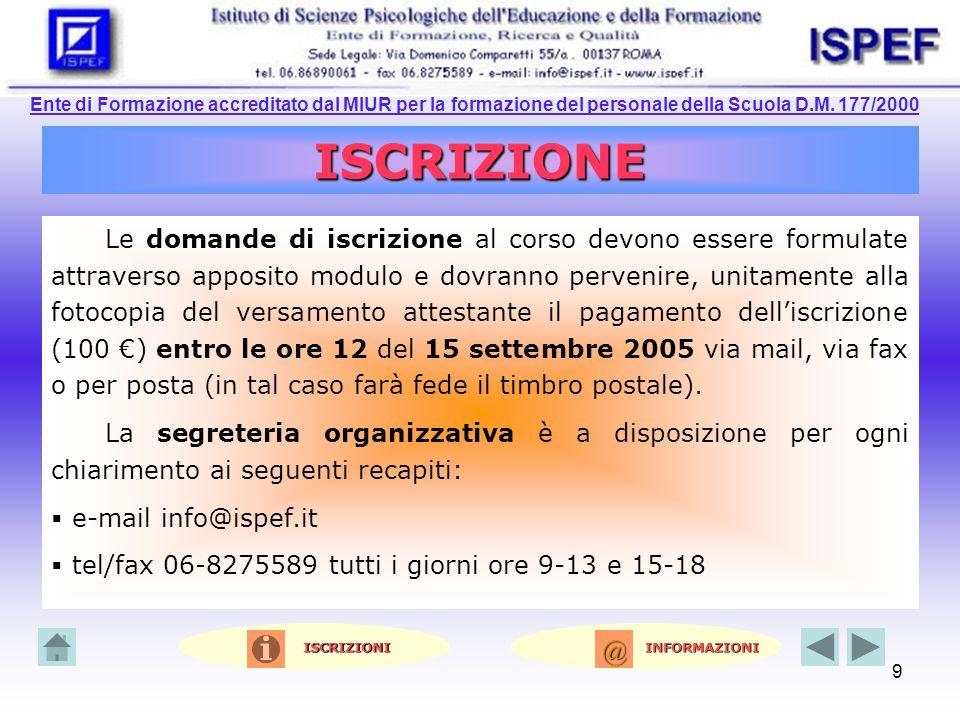 Ente di Formazione accreditato dal MIUR per la formazione del personale della Scuola D.M. 177/2000