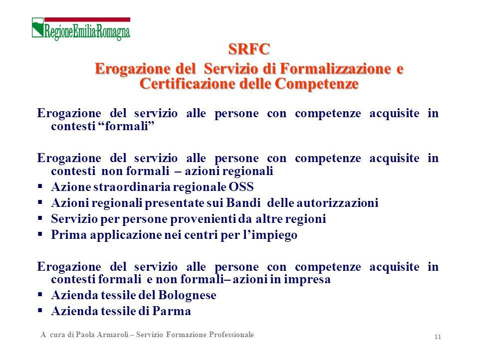 SRFC Erogazione del Servizio di Formalizzazione e Certificazione delle Competenze.