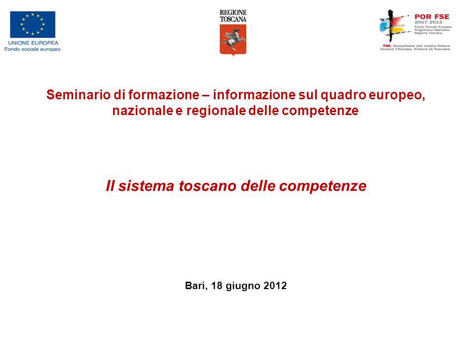 Il sistema toscano delle competenze Bari, 18 giugno 2012