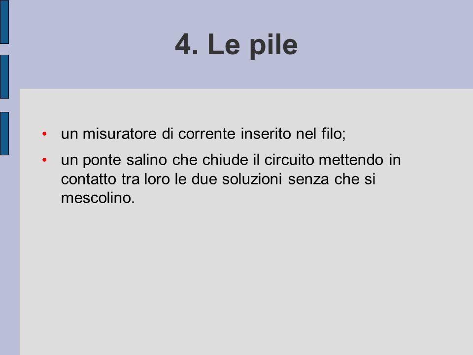4. Le pile un misuratore di corrente inserito nel filo;