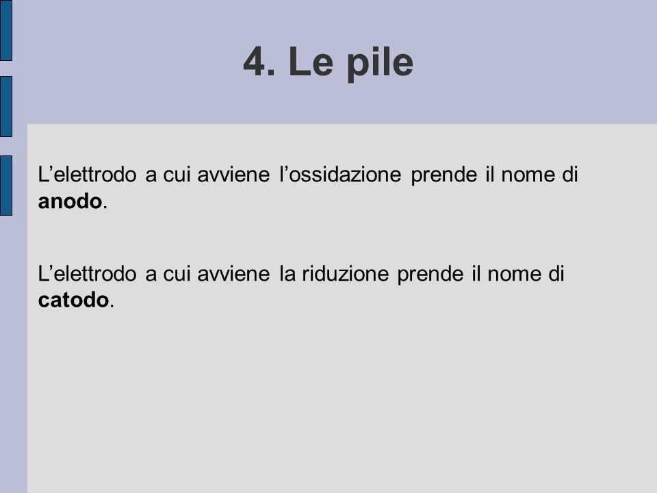 4. Le pile L'elettrodo a cui avviene l'ossidazione prende il nome di anodo. L'elettrodo a cui avviene la riduzione prende il nome di catodo.