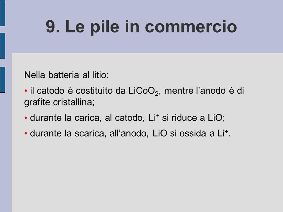 9. Le pile in commercio Nella batteria al litio: