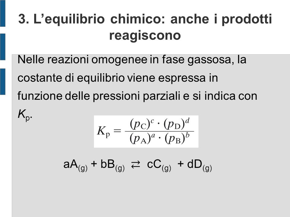 3. L'equilibrio chimico: anche i prodotti reagiscono