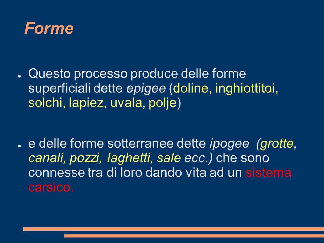 Forme Questo processo produce delle forme superficiali dette epigee (doline, inghiottitoi, solchi, lapiez, uvala, polje)