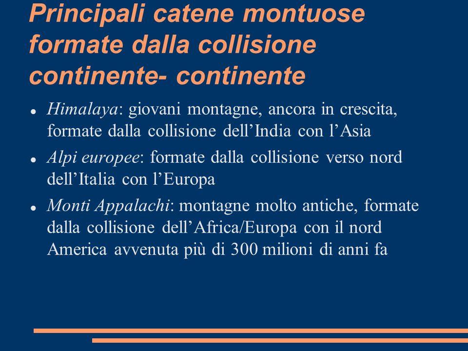 Principali catene montuose formate dalla collisione continente- continente