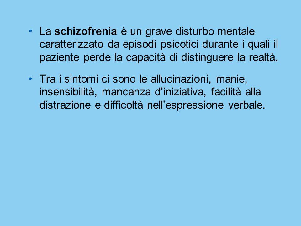 La schizofrenia è un grave disturbo mentale caratterizzato da episodi psicotici durante i quali il paziente perde la capacità di distinguere la realtà.