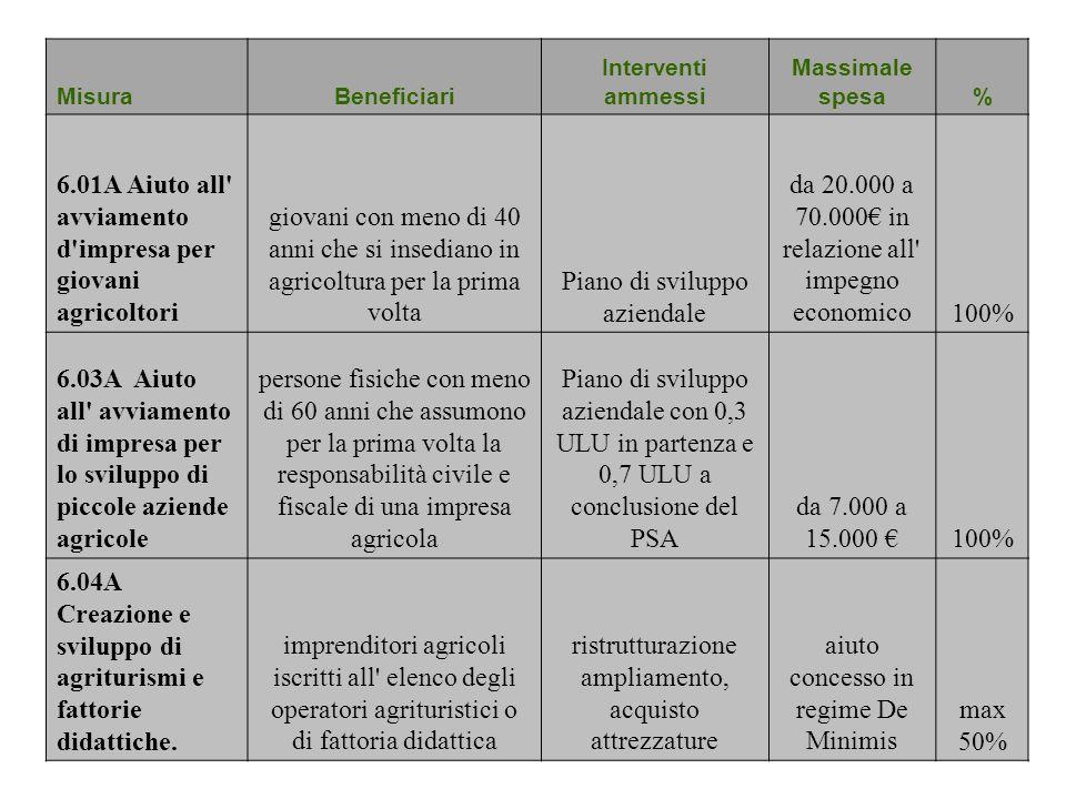 6.01A Aiuto all avviamento d impresa per giovani agricoltori