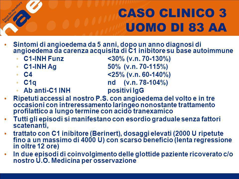 CASO CLINICO 3 UOMO DI 83 AA