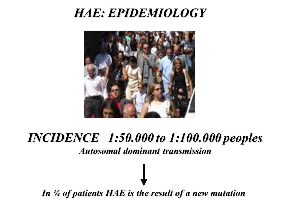 HAE: EPIDEMIOLOGY INCIDENCE 1:50.000 to 1:100.000 peoples