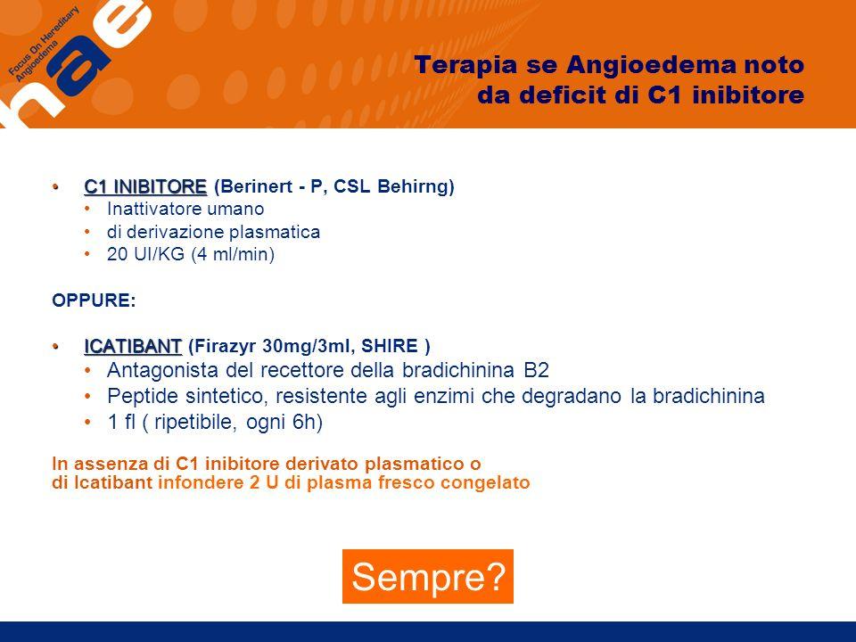Terapia se Angioedema noto da deficit di C1 inibitore