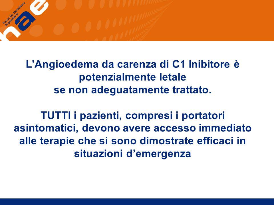 L'Angioedema da carenza di C1 Inibitore è potenzialmente letale