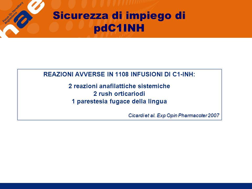 Sicurezza di impiego di pdC1INH
