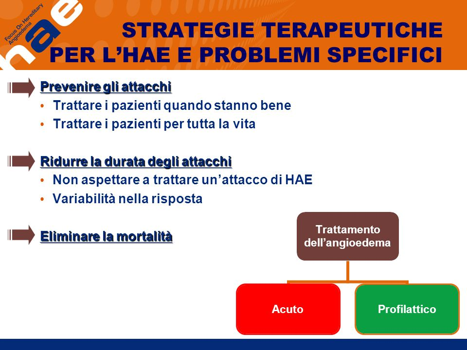STRATEGIE TERAPEUTICHE PER L'HAE E PROBLEMI SPECIFICI