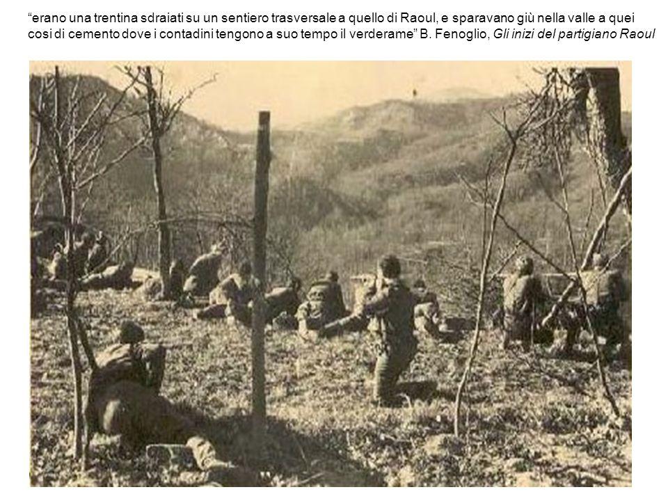 erano una trentina sdraiati su un sentiero trasversale a quello di Raoul, e sparavano giù nella valle a quei
