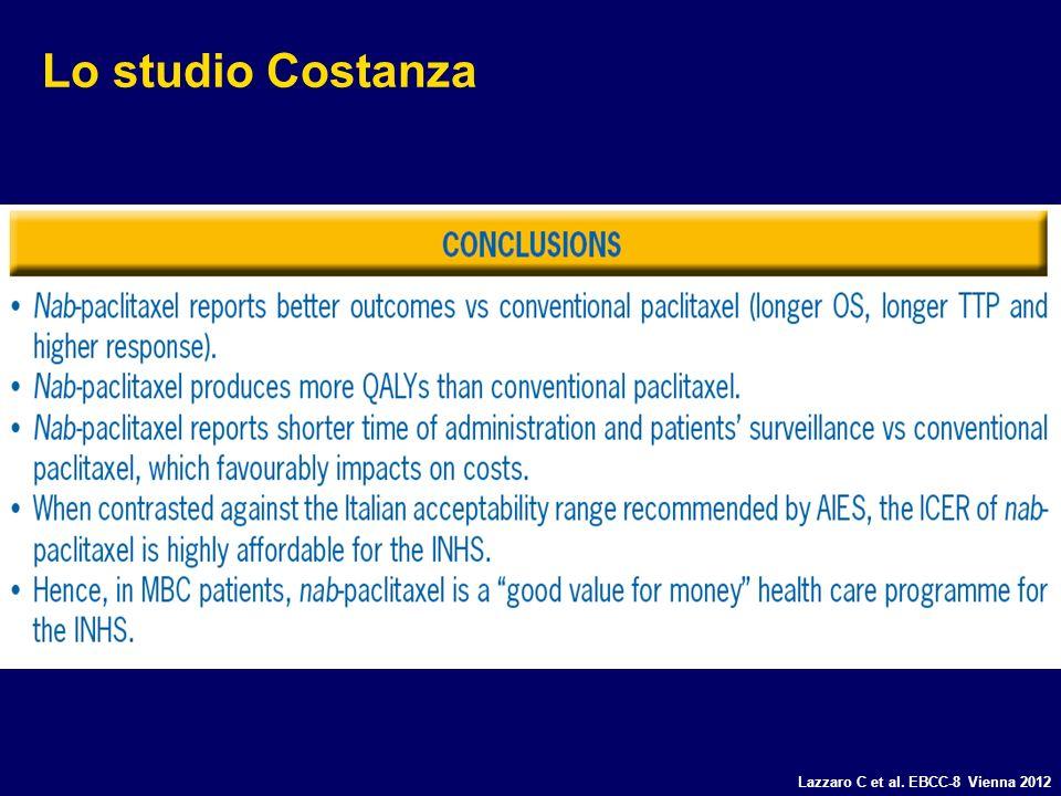 Lo studio Costanza Lazzaro C et al. EBCC-8 Vienna 2012