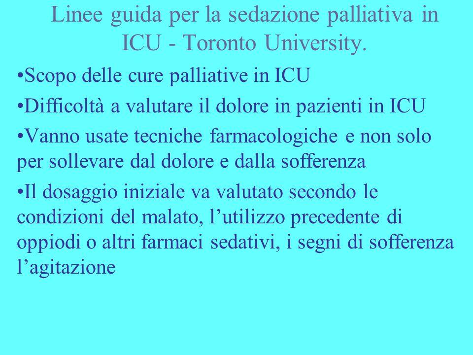 Linee guida per la sedazione palliativa in ICU - Toronto University.