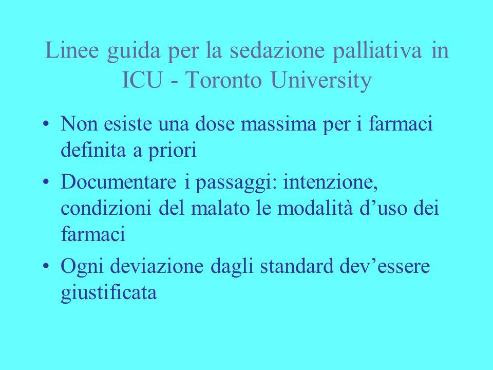 Linee guida per la sedazione palliativa in ICU - Toronto University