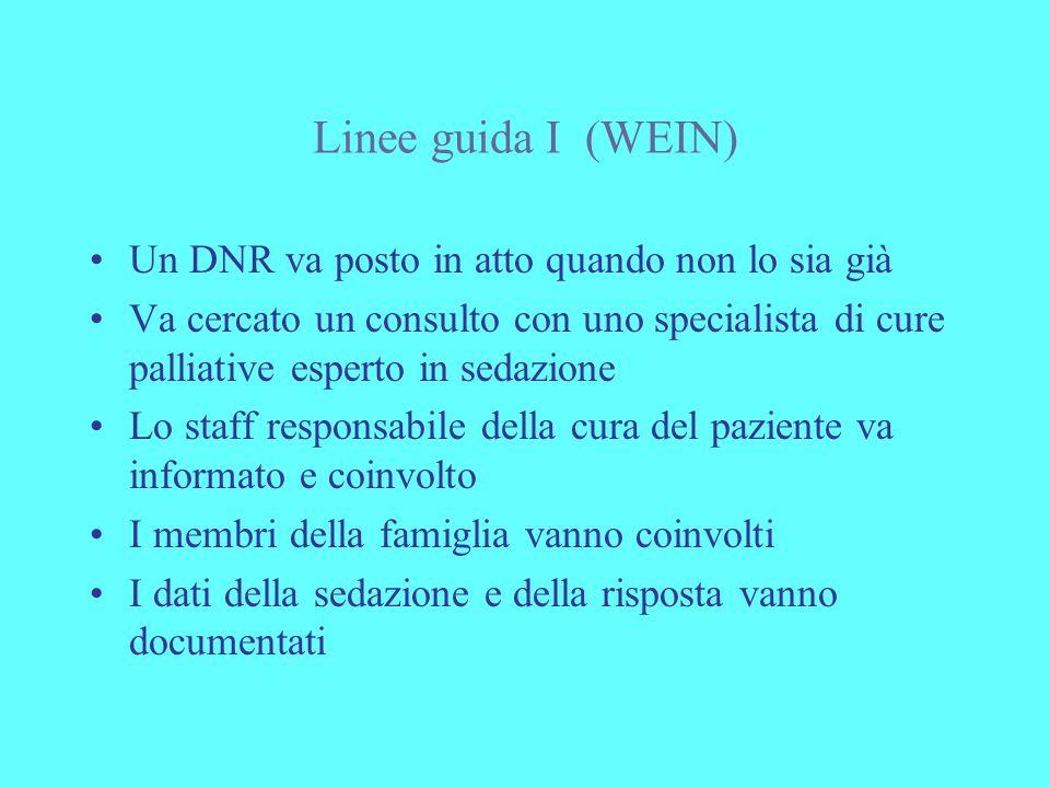 Linee guida I (WEIN) Un DNR va posto in atto quando non lo sia già