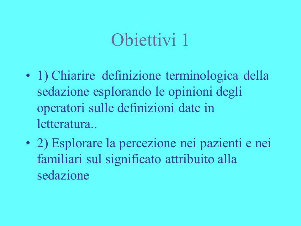 Obiettivi 1 1) Chiarire definizione terminologica della sedazione esplorando le opinioni degli operatori sulle definizioni date in letteratura..