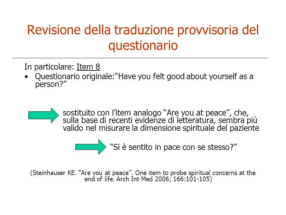 Revisione della traduzione provvisoria del questionario