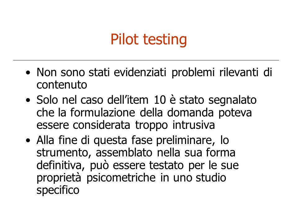 Pilot testing Non sono stati evidenziati problemi rilevanti di contenuto.