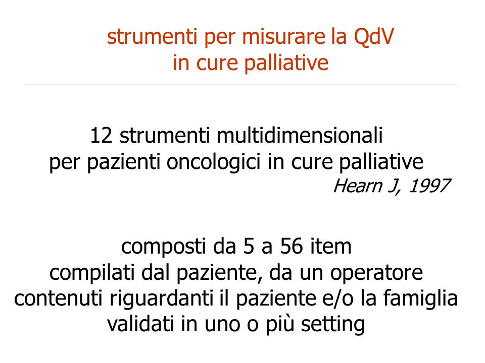 strumenti per misurare la QdV in cure palliative