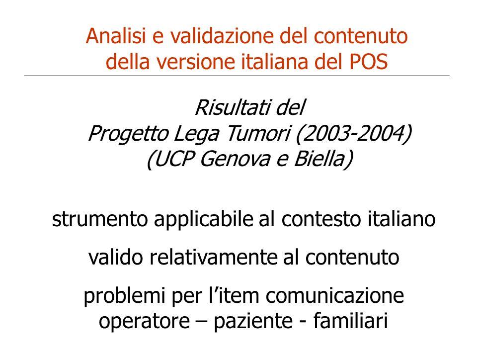 Analisi e validazione del contenuto della versione italiana del POS