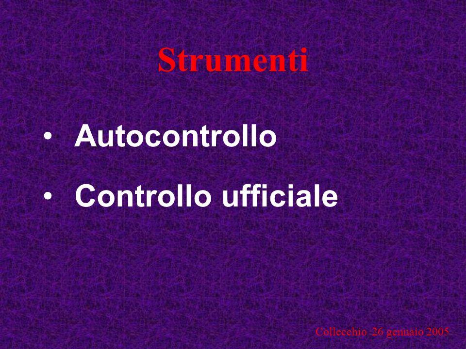 Strumenti Autocontrollo Controllo ufficiale