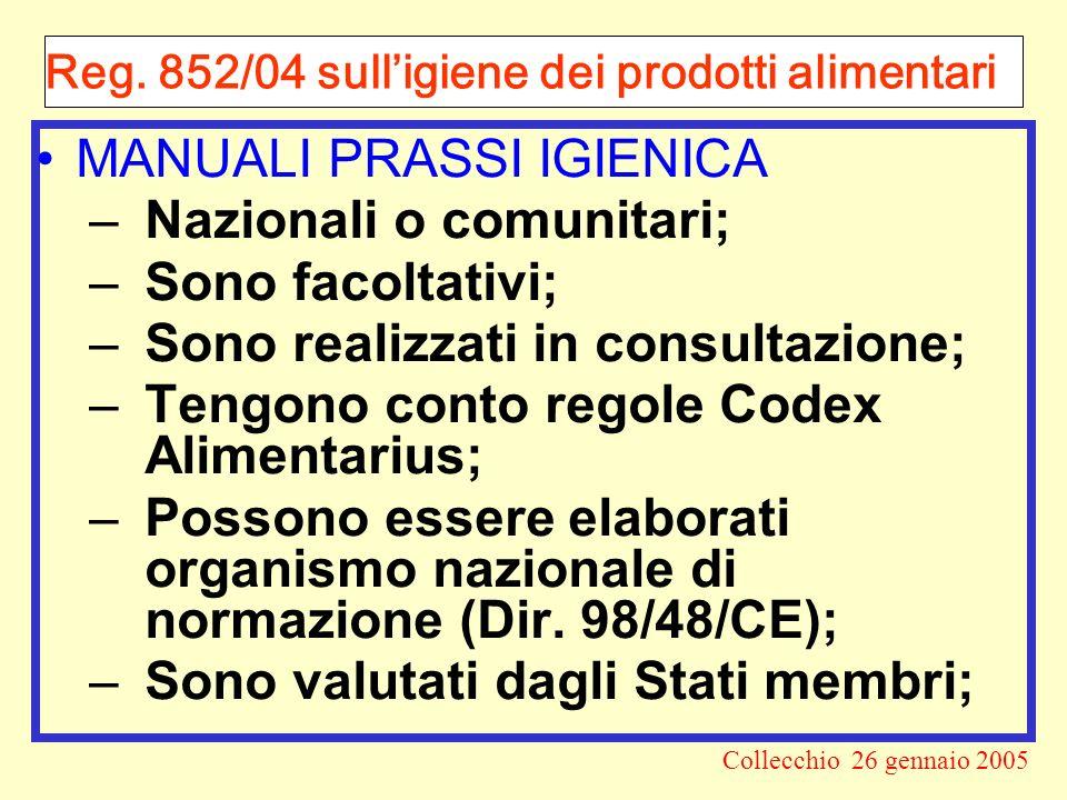 Reg. 852/04 sull'igiene dei prodotti alimentari