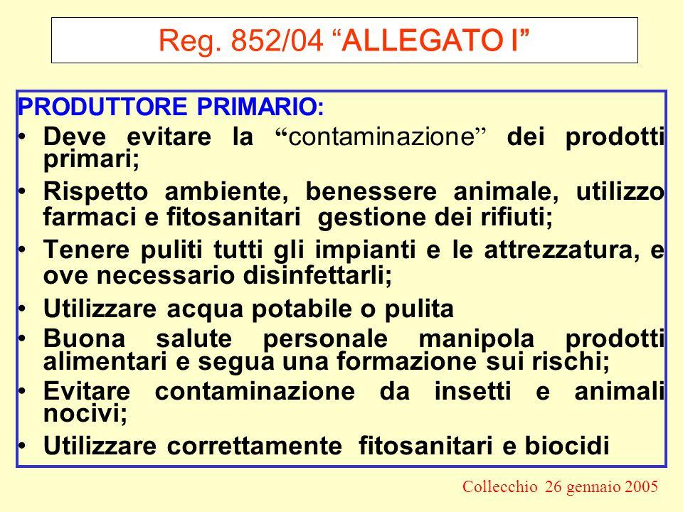 Reg. 852/04 ALLEGATO I PRODUTTORE PRIMARIO: Deve evitare la contaminazione dei prodotti primari;