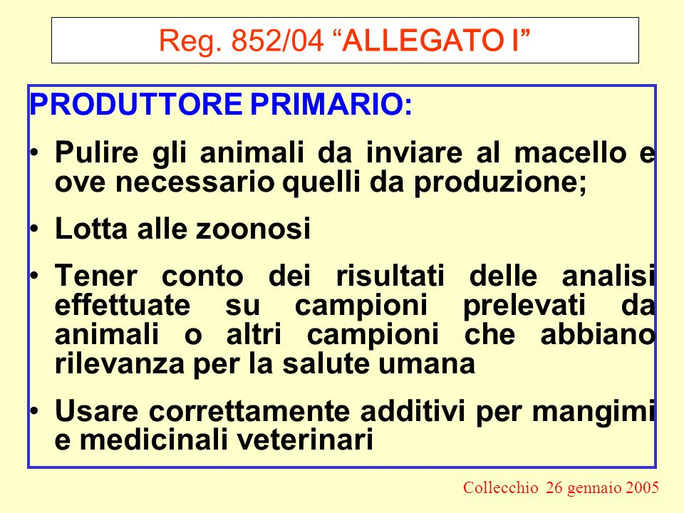 Reg. 852/04 ALLEGATO I PRODUTTORE PRIMARIO: Pulire gli animali da inviare al macello e ove necessario quelli da produzione;