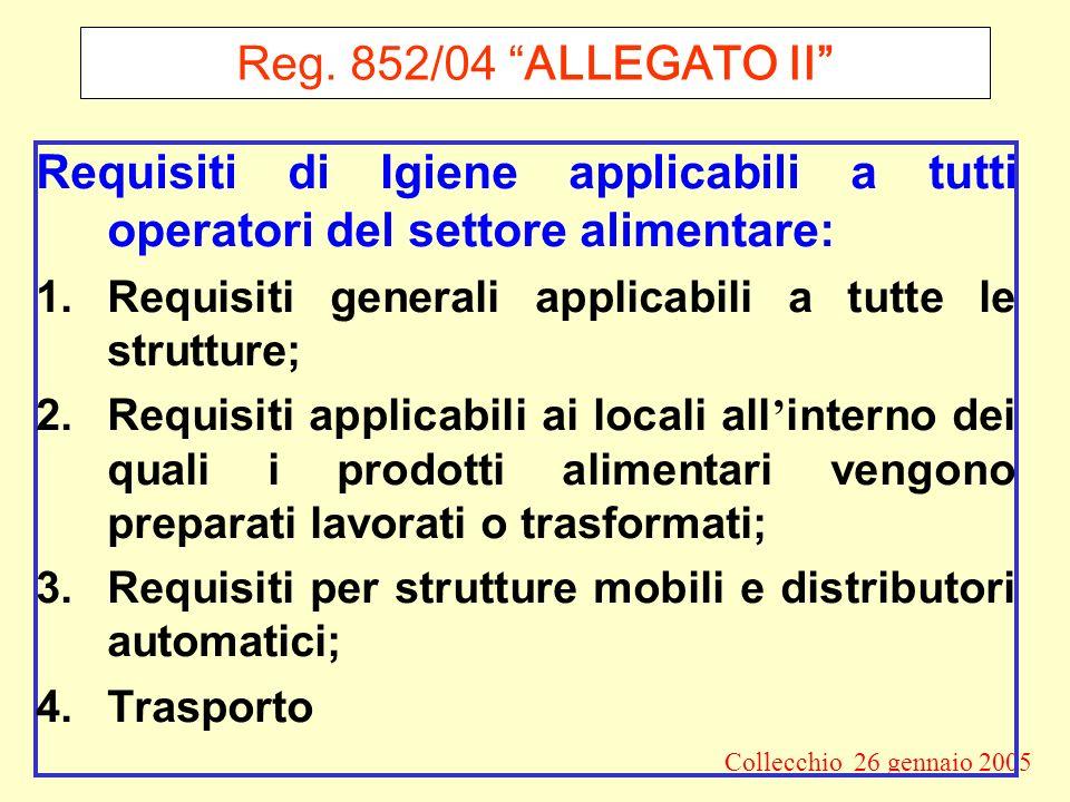 Reg. 852/04 ALLEGATO II Requisiti di Igiene applicabili a tutti operatori del settore alimentare: