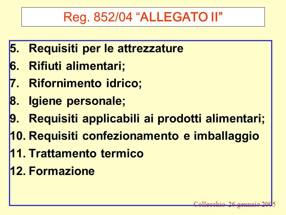Reg. 852/04 ALLEGATO II Requisiti per le attrezzature