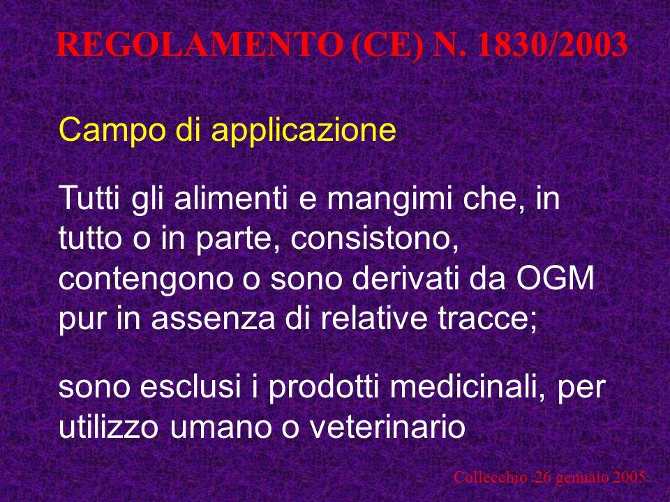 REGOLAMENTO (CE) N. 1830/2003 Campo di applicazione